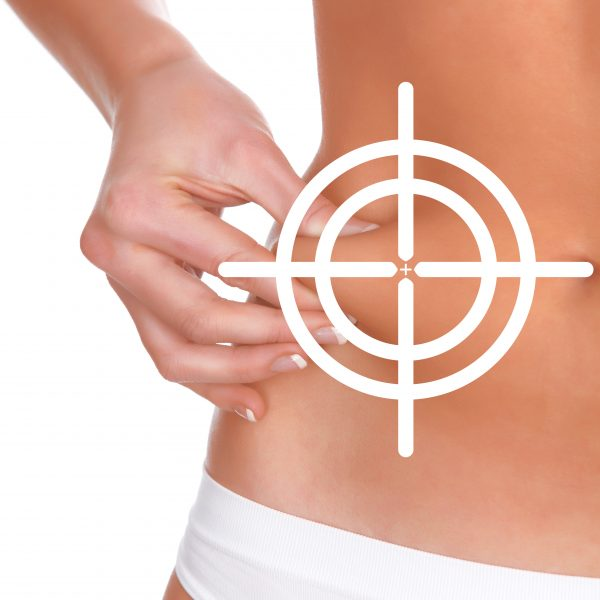 woman targets body fat with aqualyx fat reduction injections