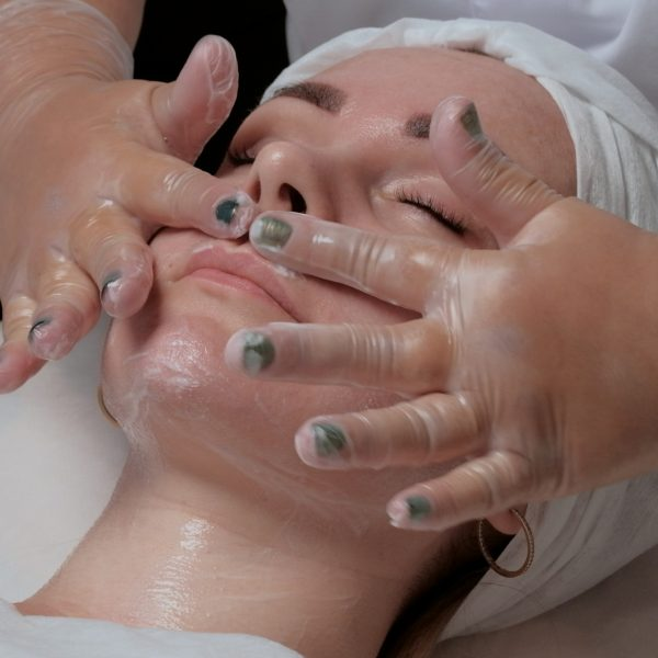 woman is prepared for carboxytherapy treatment