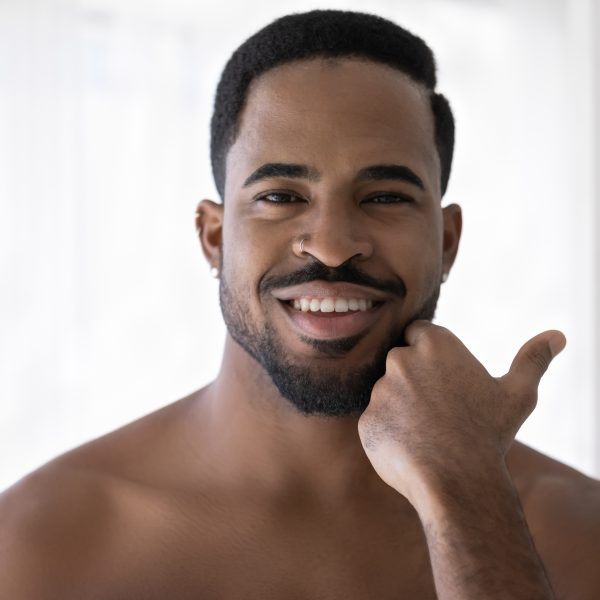 black man with rugged and masculine facial contours