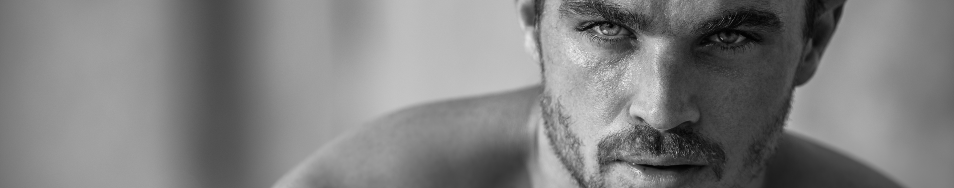 thirty something male model with chiselled facial features