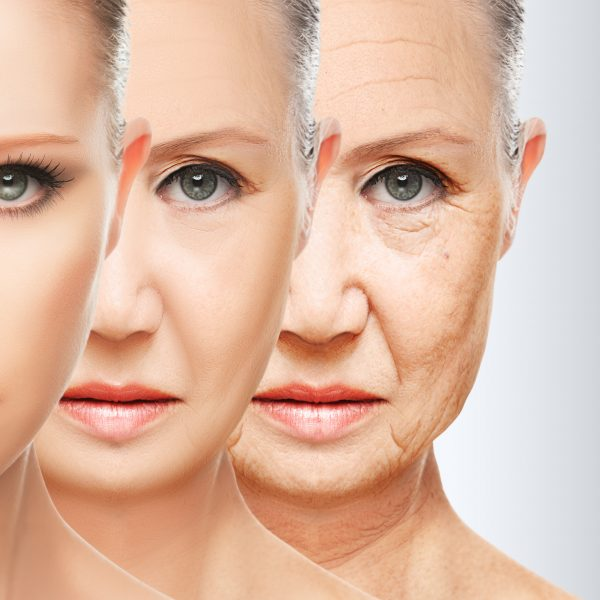 different stages of ageing in a woman's face