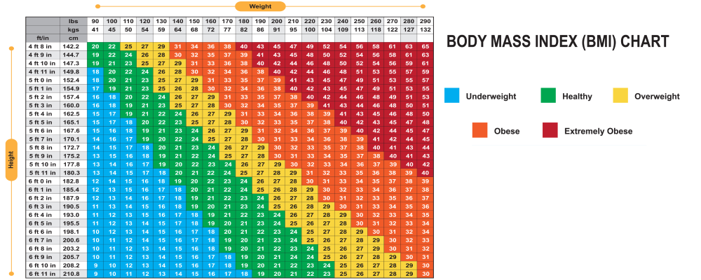 body mass index BMI chart for weight loss clinic and medical treatments