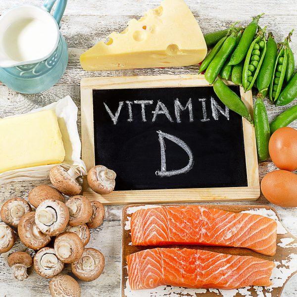 Foods containing Vitamin D such as salmon and cheese