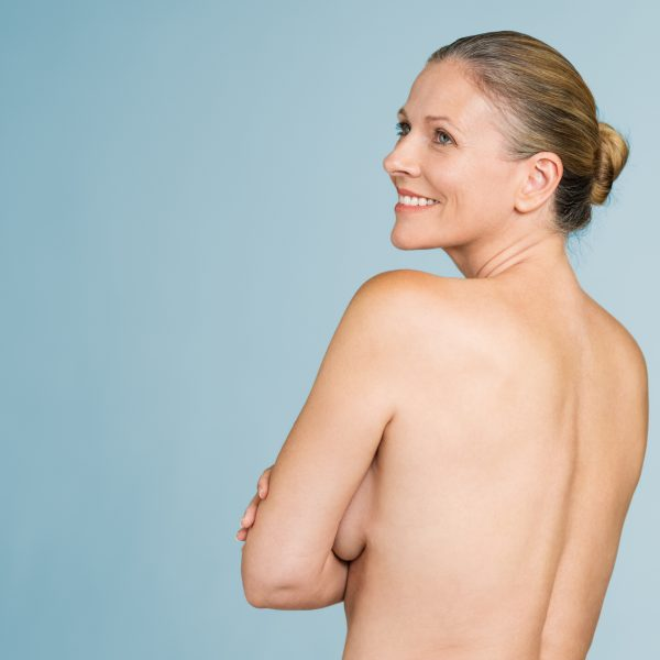 mature woman with smooth, young skin after radiofrequency skin tightening or similar