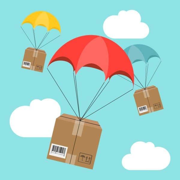 cartoon diagram of parcel delivery
