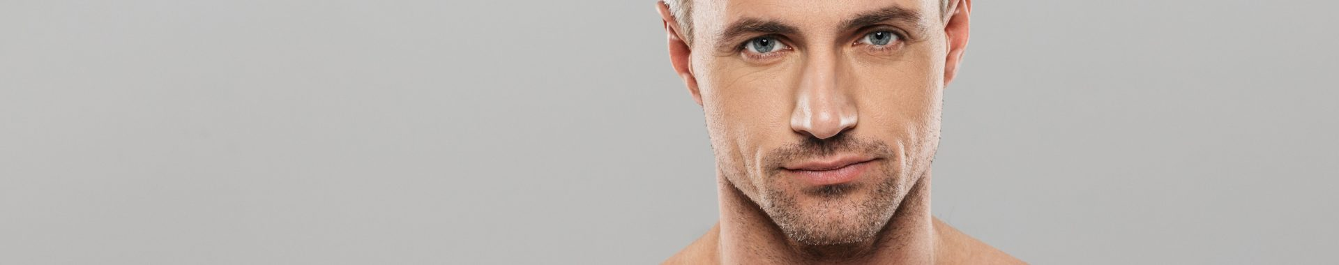 banner for male face treatments