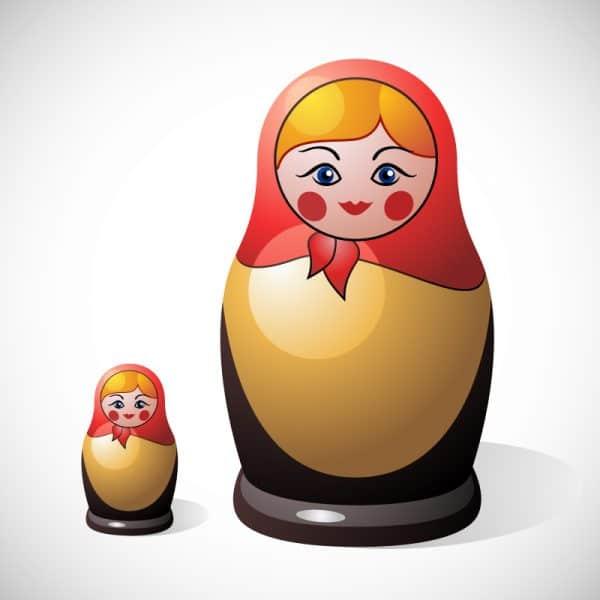 Russian doll showing russian lips