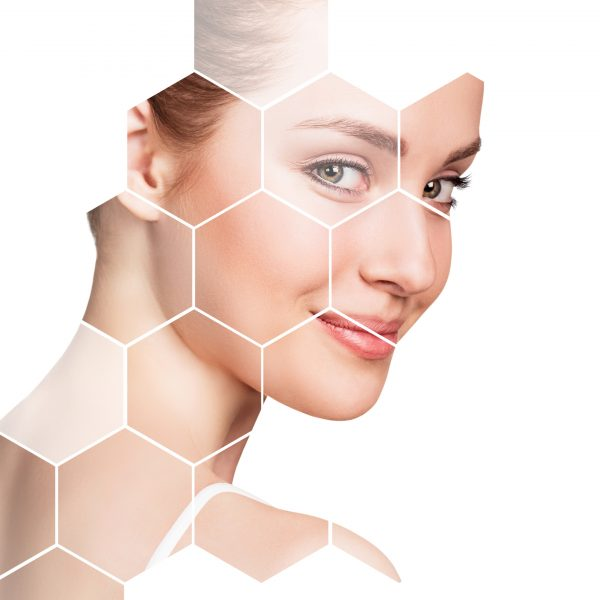 beautiful woman's face in honeycombs