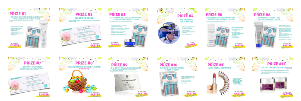 Amazing prizes to won at the Virtual Easter egg Hunt at Vie Aesthetics