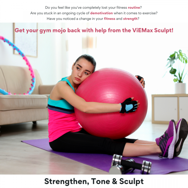 Young woman sad after home workout VieMax Sculpt solution