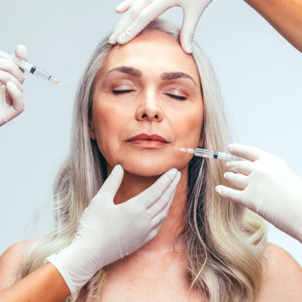 senior lady for dermal fillers and botox at vie aesthetics