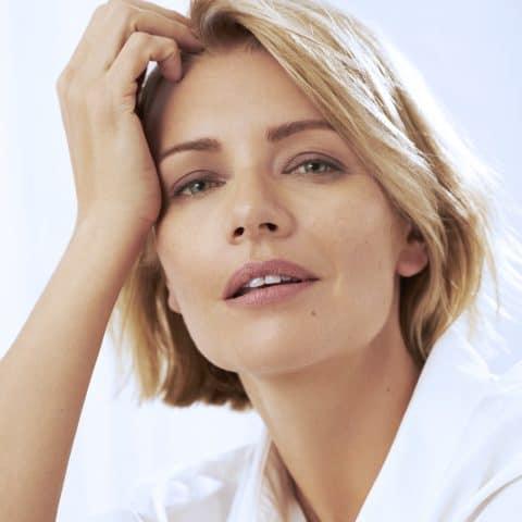 woman after medical face contouring procedure